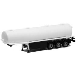 semi-remorque citerne à essence blanche à 3 essieux