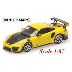 Porsche 911 GT2 RS (2018) jaune avec capot noir carbone