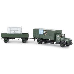 """Volvo N 88 camion bâché + remorque Pte caisse déménagements """" SJ"""" (1957)"""