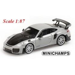 Porsche 911 GT2 RS (2018) grise à capot noir carbone