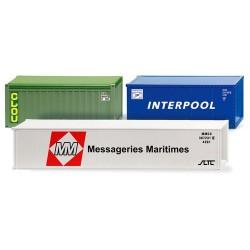 "Set de 3 containers : 2x20' ""Clou"" & ""Interpool"" - 40' ""Messageries Maritimes"""