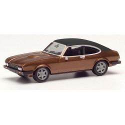 Ford Capri II (1974) brun métallisé à toit vinylique noir