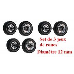 Set de 3 jeux de roues avants larges chromées et moyeu noir (diamètre 12 mm)