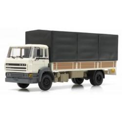 Daf F2100 (1987) camion plateau à ridelles bâché (cabine blanche)