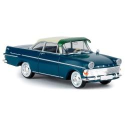 Opel Rekord Coupé PII (1961) bleu foncé à toit blanc et pare-soleil