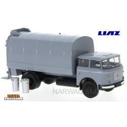 LIAZ 706 camion benne à ordures gris avec 2 poubelles (1970)