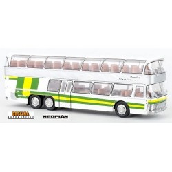 Neoplan NH 22 autocar double étage blanc à bandes vertes et jaunes (1967)