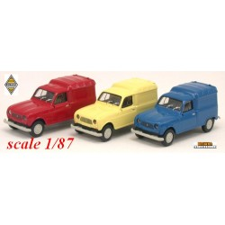 Lot de 3 Renault F4 fourgonnettes (bleue, rouge et jaune)