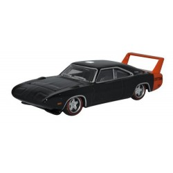 Dodge Charger Daytona 1969 noire avec aileron orange