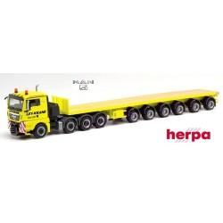 "MAN TGX XL 8x4 + semi-remorque plateau transport de Ballats ""Ley Krane Gummersbach"""