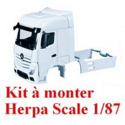 Set de 2 cabines blanches MB Actros Bigspace '11 carénées avec déflecteurs - kit à monter