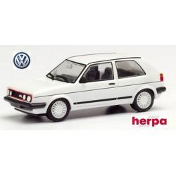 VW Golf Gi II (version 1985 - 4 phares) blanche avec baguettes latérales noires