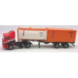MAN F90 + semi-rqe Pte containers 2 x 20' crénelé & citerne (base Herpa)
