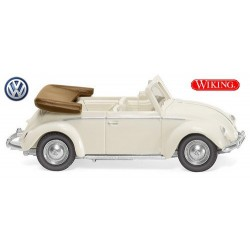VW Cox 1200 cabriolet ouvert blanc perle (1961)