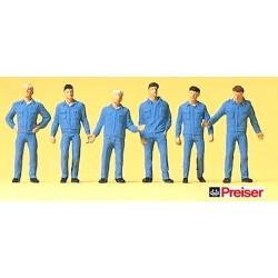 Set de 6 mécaniciens en tenue de travail (en bleu)