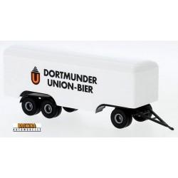 """remorque fourgon 3 essieux """"Dortmunder Union Bier"""" (1955) - longueur 115 mm avec le timon"""