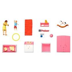 Chambre à coucher d'enfant (avec deux figurines)