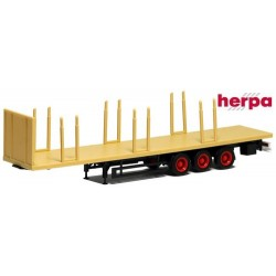 semi-remorque plateau Lowliner jaune sable à 3 essieux avec ranchers