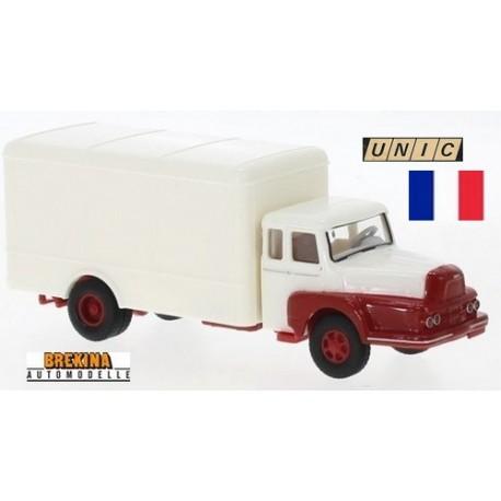 Unic Izoard ZU 122 camion fourgon (1957) blanc  à ailes rouges