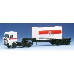 """Scania 143M  + semi-remorque Porte container citerne """"AGA"""""""