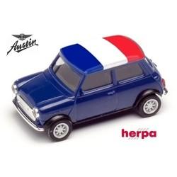 Austin Mini Cooper rouge avec drapeau tricolore (France)