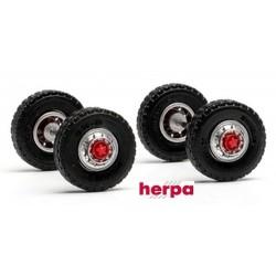 Set de 2 jeux de roues avants avec flasques  pour tracteur (pneus route - 13 x 3,5 mm)