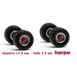 Set de 2 jeux de roues jumelées acier pour essieu arrière tracteur ou remorque (pneus tout terrain)