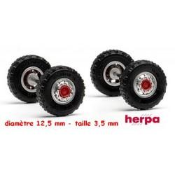 Set de 2 jeux de roues avec flasque pour essieu avant (pneus tout terrain)
