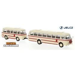 Autobus JZS Jelcz 043 + remorque P-01 (1964) beige et rouge