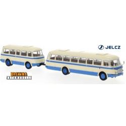 Autobus JZS Jelcz 043 + remorque P-01 (1964) beige et bleu