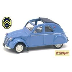 Citroen 2cv AZLP 1958 bleu glacier débâchée - bâche et sièges bleus