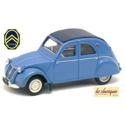 Citroen 2cv AZLP 1958 bleu glacier bâchée - bâche et sièges bleus