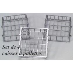 Set de 4 caisses à palettes grillagées