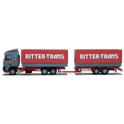 Daf 95 XF SC camion + rqe auto-portante bâchés Ritter-Trans