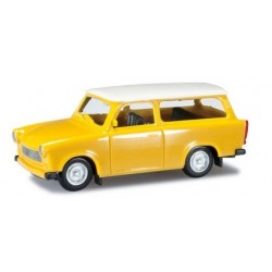 Trabant 601 S Universal jaune à toit blanc