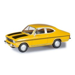 Opel Kadett B coupé jaune à bandes noires