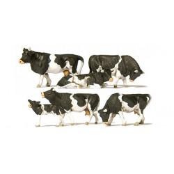 Set de 5 vaches laitières et veau noir & blanc