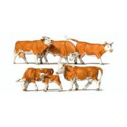 Set de 5 vaches laitières et veau marron & blanc