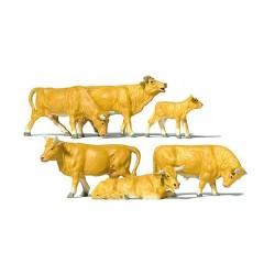 Set de 5 vaches et veau brun clair