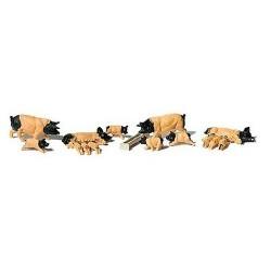 Set de 5 truies et leurs petits noir et rose