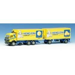 MB SK '88 camion 6x2 + remorque fourgon Henglein Fenkost