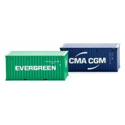 Set de 2 containers 20' crenlés CMA-CGM - Evergreen