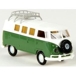 VW T1b Camping-Car vert et blanc (galerie & roue de secours)