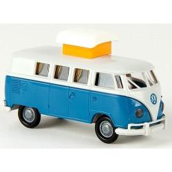VW T1b Camping-Car bleu et gris clair  (Toit déployé)