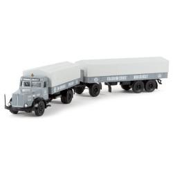 "Faun L 8 L camion + remorque bâchée 3 essieux ""Farbwerke Hoechst"""