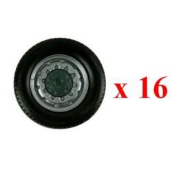 Set de 16 roues avants gris alu moyeu noir pour camion