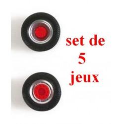 Set de 5 jeux de roues gris alu à moyeu rouge pour tracteur routier
