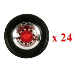Set de 24 roues chromées à moyeu rouge pour semi-remorque