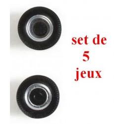 set de 5 jeux de roues gris alu à moyeu noir pour tracteur routier