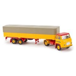 Scania LB 76 + semi-remorque bâchée jaune